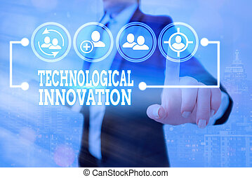 Conceptual hand writing showing Technological Innovation. Business photo text New Invention from technical Knowledge of Product.