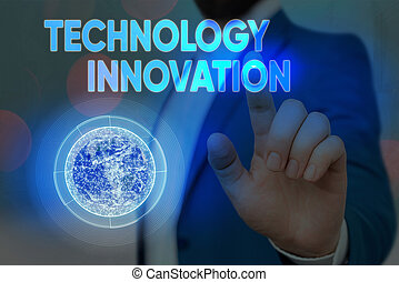 Conceptual hand writing showing Technology Innovation. Business photo text significant technological changes of products Elements of this image furnished by NASA.