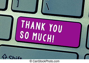 Conceptual hand writing showing Thank You So Much. Business photo text Expression of Gratitude Greetings of Appreciation