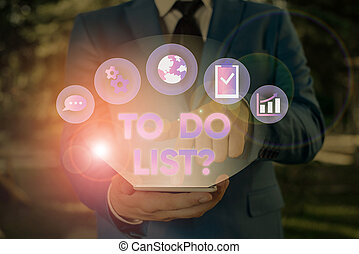 Conceptual hand writing showing To Do List Question. Business photo text Series of task to be done organized in priority order.