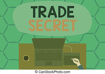 Conceptual hand writing showing Trade Secret. Business photo showcasing Confidential information about a product Intellectual property Laptop wooden desk worker drawing tablet coffee cup office.