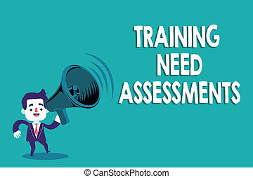 Conceptual hand writing showing Training Need Assessments. Business photo text determine the exercise required to fill the Gap