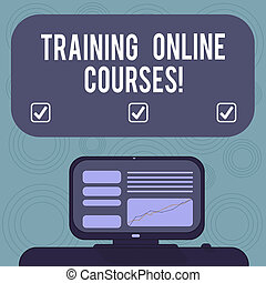 Conceptual hand writing showing Training Online Courses. Business photo showcasing deliver a series of lessons to a web browser Mounted Computer Screen with Line Graph on Desk Text Box.