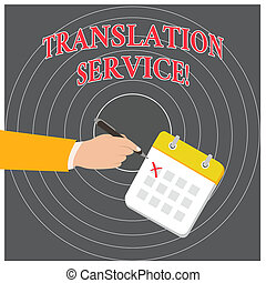 Conceptual hand writing showing Translation Service....
