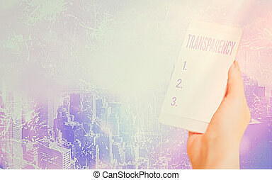 Conceptual hand writing showing Transparency. Concept meaning something transparent especially a picture viewed by light Modern gadgets white screen under colorful bokeh background