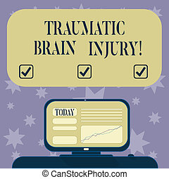 Conceptual hand writing showing Traumatic Brain Injury. Business photo text Insult to the brain from an external mechanical force Mounted Computer Screen with Line Graph on Desk Text Box.