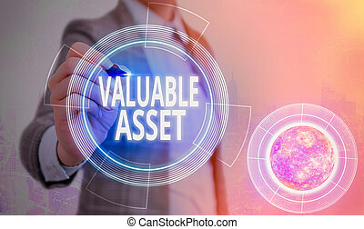 Conceptual hand writing showing Valuable Asset. Business photo text Your most valuable asset is your ability or capacity Elements of this image furnished by NASA.
