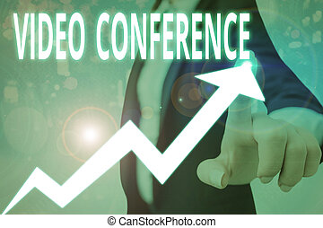 Conceptual hand writing showing Video Conference. Business photo showcasing showing in remote places hold facetoface meetings.