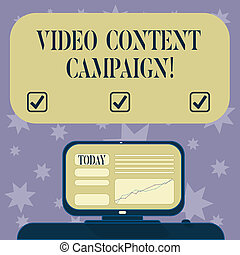 Conceptual hand writing showing Video Content Campaign. Business photo text Integrates engaging video into marketing campaigns Mounted Computer Screen with Line Graph on Desk Text Box.