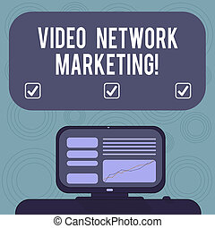 Conceptual hand writing showing Video Network Marketing. Business photo showcasing Engaging video into your marketing campaign Mounted Computer Screen with Line Graph on Desk Text Box.
