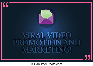 Conceptual hand writing showing Viral Video Promotion And Marketing. Business photo text Modern advertising social media strategy Open Envelope with Paper Email Message inside Quotation Mark.