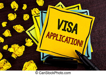 Conceptual hand writing showing Visa Application Motivational Call. Business photo showcasing sheet to provide your basic information written on Sticky Note Paper on wooden background Paper Balls