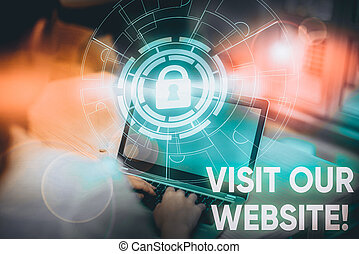 Conceptual hand writing showing Visit Our Website. Business photo showcasing visitor who arrives at web site and proceeds to browse Picture photo network scheme with modern smart device.