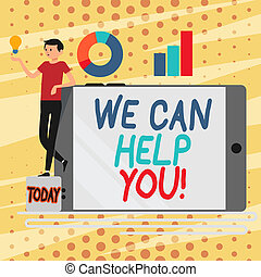 Conceptual hand writing showing We Can Help You. Business photo showcasing offering good assistance to customers or friends Man Leaning on Smartphone Turned on Side Graph and Idea Icon.