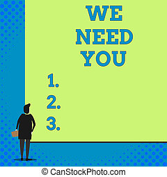 Conceptual hand writing showing We Need You. Business photo showcasing asking someone to work together for certain job or target Woman watching blank big rectangle. Geometrical background.