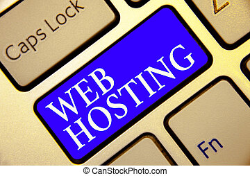 Conceptual hand writing showing Web Hosting. Business photo showcasing The activity of providing storage space and access for websites Keyboard blue key Intention computing reflection document.