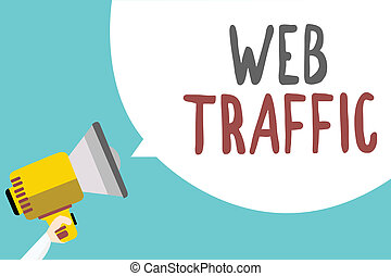 Conceptual hand writing showing Web Traffic. Business photo showcasing Amount of data sent and received by visitors to a website Man holding megaphone speech bubble message blue background.
