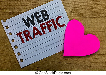 Conceptual hand writing showing Web Traffic. Business photo showcasing Amount of data sent and received by visitors to a website Notebook paper Romantic ideas heart feelings Wooden table.