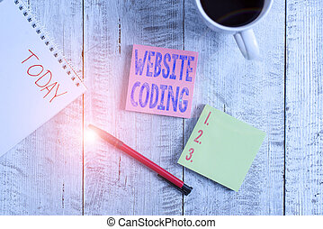 Conceptual hand writing showing Website Coding. Concept meaning system of symbols and rules used to represent instructions Stationary placed next to a coffee cup above wooden table