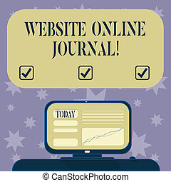 Conceptual hand writing showing Website Online Journal. Business photo text periodical publication published in electronic format Mounted Computer Screen with Line Graph on Desk Text Box.