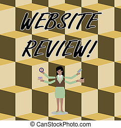 Conceptual hand writing showing Website Review. Business photo text the customer ratings and assessments of businesses or service Woman with Four Arms Extending Sideways Workers Needed Item.