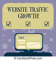 Conceptual hand writing showing Website Traffic Growth. Business photo text marketing metric that measures visitors of a site Mounted Computer Screen with Line Graph on Desk Text Box.