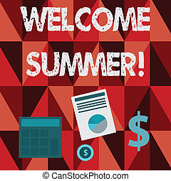 Conceptual hand writing showing Welcome Summer. Business photo text start of the new season by enjoying the hot weather Dollar Investment in Gold and Presenting Data thru Pie Chart.