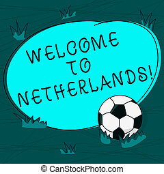 Conceptual hand writing showing Welcome To Netherlands. Business photo text Warm greeting to the visitors of Netherlands Soccer Ball on the Grass and Blank Round Color Shape photo.
