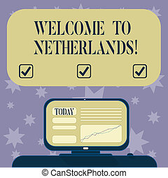Conceptual hand writing showing Welcome To Netherlands. Business photo text Warm greeting to the visitors of Netherlands Mounted Computer Screen with Line Graph on Desk Text Box.