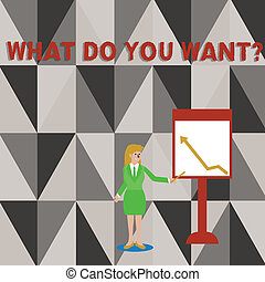 Conceptual hand writing showing What Do You Want Question. Business photo text say or write in order to ask demonstrating about something Woman Holding Stick Pointing to Chart of Arrow on Whiteboard.