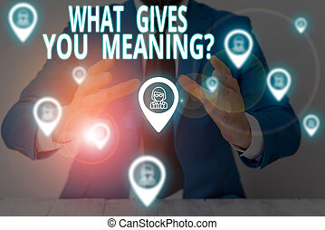 Conceptual hand writing showing What Gives You Meaning Question. Business photo showcasing your purpose or intentions in life Male wear formal suit presenting presentation smart device.
