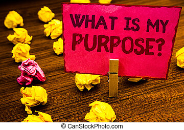 Conceptual hand writing showing What Is My Purpose Question. Business photo showcasing Direction Importance Discernment Reflection Paperclip retrain pink card with letters wooden floor hunch.