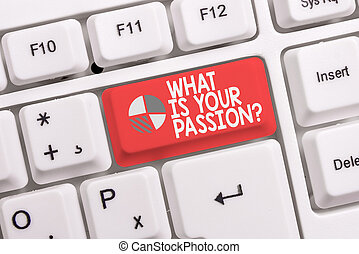 Conceptual hand writing showing What Is Your Passion Question. Business photo text asking about his strong and barely controllable emotion White pc keyboard with note paper above the white background.
