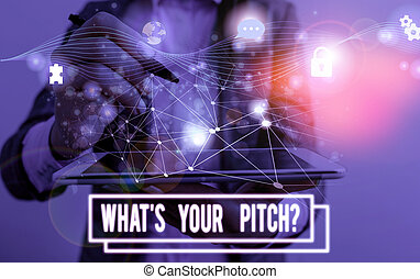 Conceptual hand writing showing What S Is Your Pitch question. Business photo text asking about property of sound or music tone Picture photo network scheme with modern smart device.