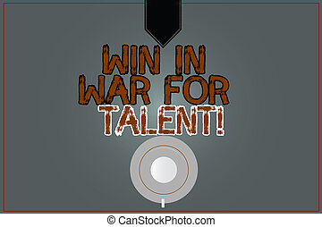 Conceptual hand writing showing Win In War For Talent. Business photo text Fight using your best skills be a winner for abilities Coffee Cup Top View Reflection on Blank Color Snap Planner.