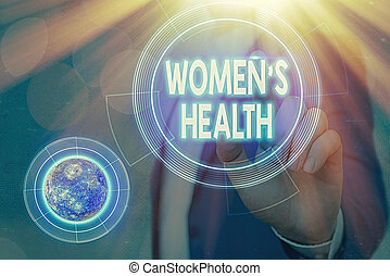 Conceptual hand writing showing Women S Health. Business photo showcasing Women s is physical health consequence avoiding illness Elements of this image furnished by NASA.