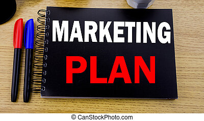 Conceptual hand writing text caption showing Marketing Plan. Business concept for Planning Successful Strategy written on sticky note with space on old wood wooden background with sunglasses