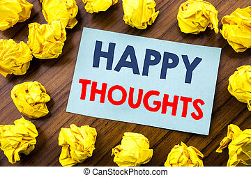 Conceptual hand writing text inspiration showing Happy Thoughts. Business concept for Happiness Thinking Good written on sticky note paper on the wooden background with folded yellow paper