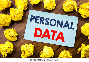 Conceptual hand writing text inspiration showing Personal Data. Business concept for Digital Protection written on sticky note paper on the wooden background with folded yellow paper
