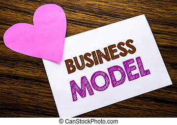 Conceptual hand writing text showing Business Model. Concept for Solution Strategy Plan written on sticky note paper, wooden wood background. With pink heart meaning love adoration.