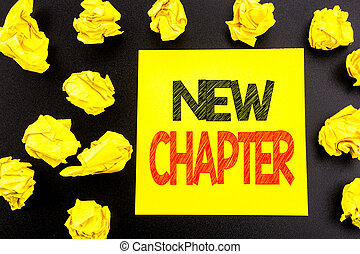 Conceptual hand writing text showing New Chapter. Business concept for Starting New Future Life written on sticky note paper. Folded yellow papers on the background
