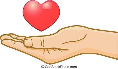 Conceptual heart on hand vector