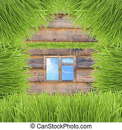 conceptual, hierba verde, casa, en, de madera, plano de fondo