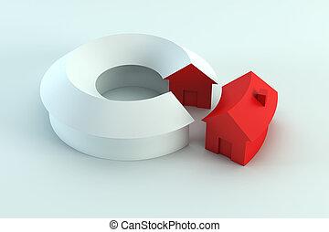 conceptual house diagram 3d render