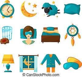 Conceptual icon set of sleeping. Vector symbols of healthy sleep