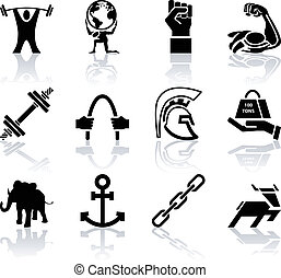 Conceptual icon set relating to strength - A conceptual icon...