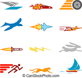 Conceptual icon set speedy and efficient