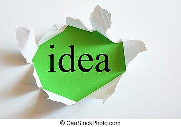 conceptual idea - idea on green background in a paper hole