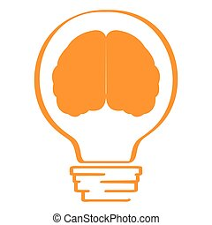 Conceptual idea lightbulb with a brain icon