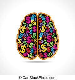 brain with dollar symbol